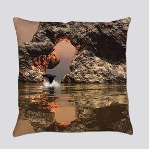 Dolphin in the sunset Everyday Pillow