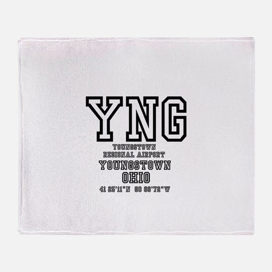AIRPORT CODES - YNG - YOUNGSTOWN, OH Throw Blanket