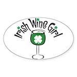 Irish Wine Girl Oval Sticker