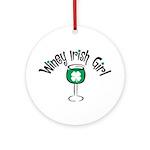 Winey Irish Girl Ornament (Round)