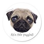 Personalised Wee Scottish Shug The Pug Round Car M