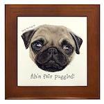 Personalised Wee Scottish Shug The Pug Framed Tile