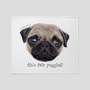 Personalised Wee Scottish Shug The Pug Throw Blank