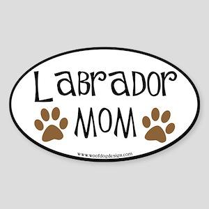 Labrador Mom Oval (black border) Oval Sticker