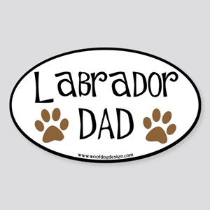 Labrador Dad Oval (black border) Oval Sticker