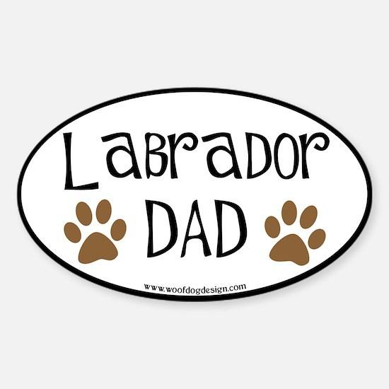 Labrador Dad Oval (black border) Oval Decal