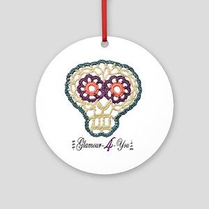 Sugar Skull Applique Round Ornament