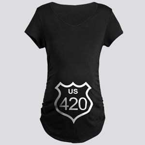 US Highway 420 Maternity Dark T-Shirt
