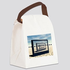 Surreal Elephant Desert Scene Canvas Lunch Bag
