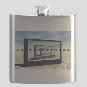 Surreal Elephant Desert Scene Flask