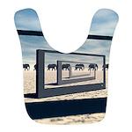 Surreal Elephant Desert Scene Polyester Baby Bib