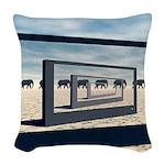 Surreal Elephant Desert Scene Woven Throw Pillow