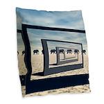 Surreal Elephant Desert Scene Burlap Throw Pillow