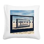 Surreal Elephant Desert Scene Square Canvas Pillow