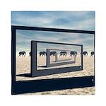Surreal Elephant Desert Scene Queen Duvet