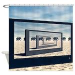 Surreal Elephant Desert Scene Shower Curtain