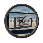 Surreal Elephant Desert Scene Large Wall Clock
