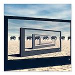 Surreal Elephant Desert Scene Square Car Magnet 3