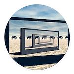 Surreal Elephant Desert Scene Round Car Magnet