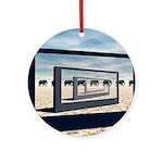Surreal Elephant Desert Scene Round Ornament