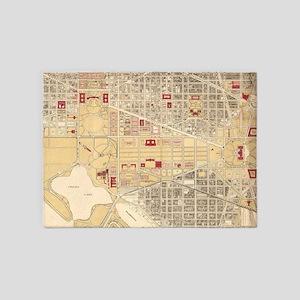 Vintage Map of The Washington D.C. 5'x7'Area Rug