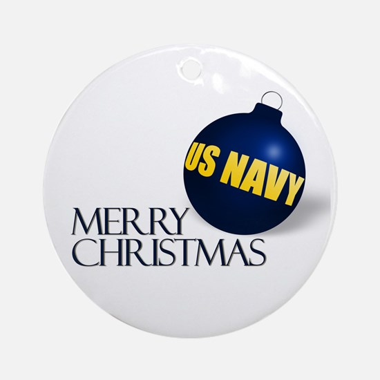 Merry US Navy Christmas Ornament (Round)