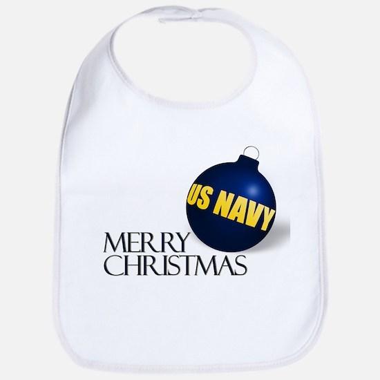 Merry US Navy Christmas Bib