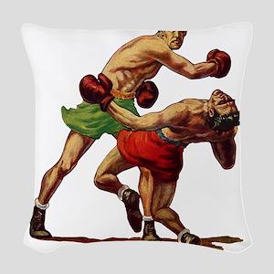 Vintage Sports Boxing Woven Throw Pillow