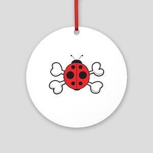 Cute Ladybug & Crossbones Ornament (Round)