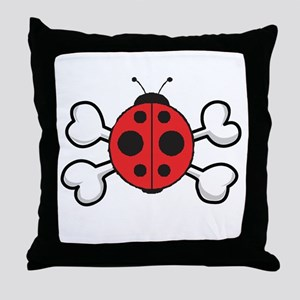 Cute Ladybug & Crossbones Throw Pillow