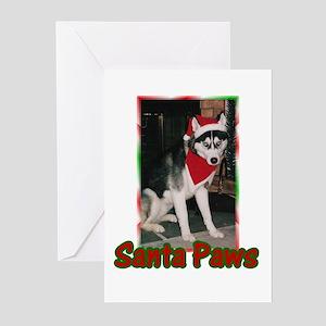 Siberian Husky Santa Paws Greeting Cards (Package