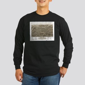 Vintage Pictorial Map of Young Long Sleeve T-Shirt