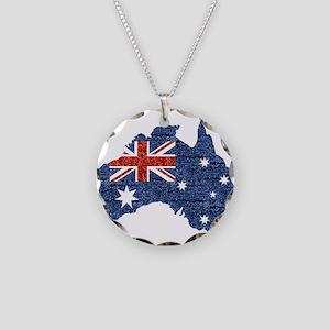 sequin australian flag Necklace Circle Charm