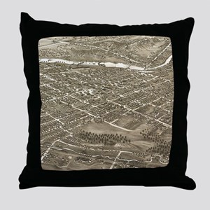 Vintage Pictorial Map of Youngstown O Throw Pillow