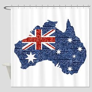 Sequin Australian Flag Shower Curtain