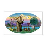 St Francis-3 Dachshunds 20x12 Wall Decal