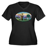 St Francis-3 Women's Plus Size V-Neck Dark T-Shirt