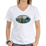 St Francis-3 Dachshunds Women's V-Neck T-Shirt