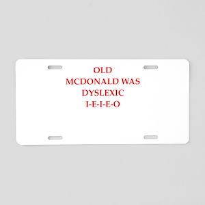 dyslexic Aluminum License Plate