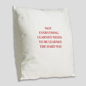 learn Burlap Throw Pillow