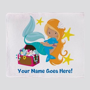 Blond Mermaid Throw Blanket