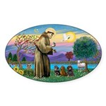 St Francis-3 Dachshunds Sticker (Oval 50 pk)