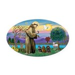 St Francis-3 Dachshunds Oval Car Magnet