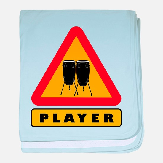 Conga Player Caution Sign baby blanket