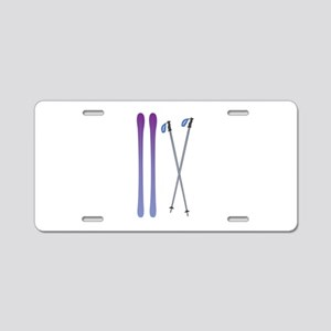 Skis & Poles Aluminum License Plate