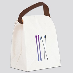 Skis & Poles Canvas Lunch Bag