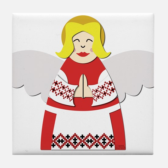 Ukrainian Angel Red Blouse Tile Coaster