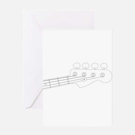 Bass Headstock Outline Greeting Cards