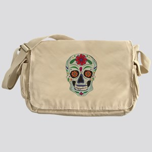 Floral Skull Messenger Bag