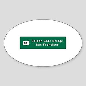 Golden Gate Bridge-SF, US Route 101 Sticker (Oval)
